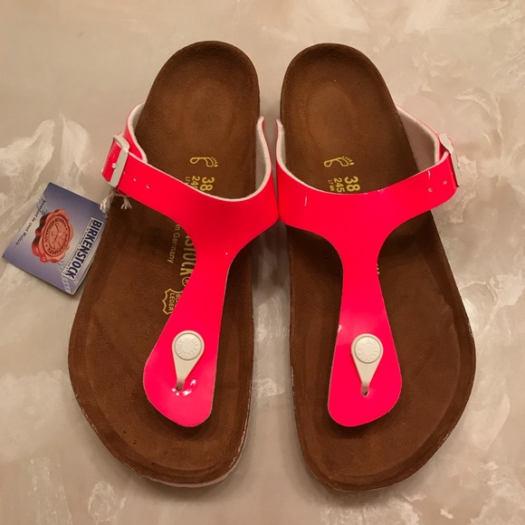 NWT Birkenstock Gizeh Sandal Neon Pink Sz 38 NWT